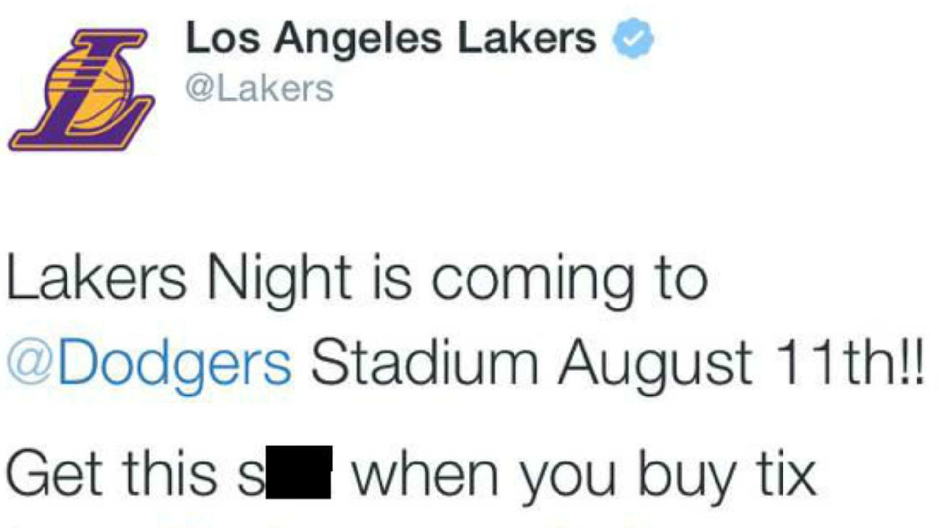 Lakers send out NSFW tweet about a T-shirt giveaway