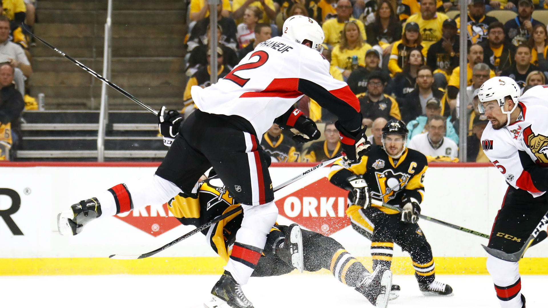 Penguins forward Bryan Rust injured on high hit from Dion Phaneuf