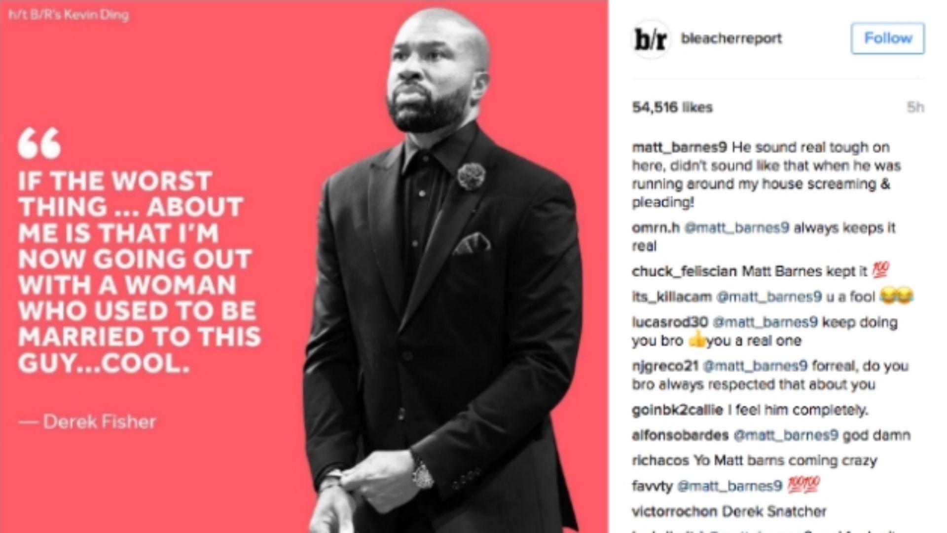 Matt Barnes checks tough guy Derek Fisher on Instagram
