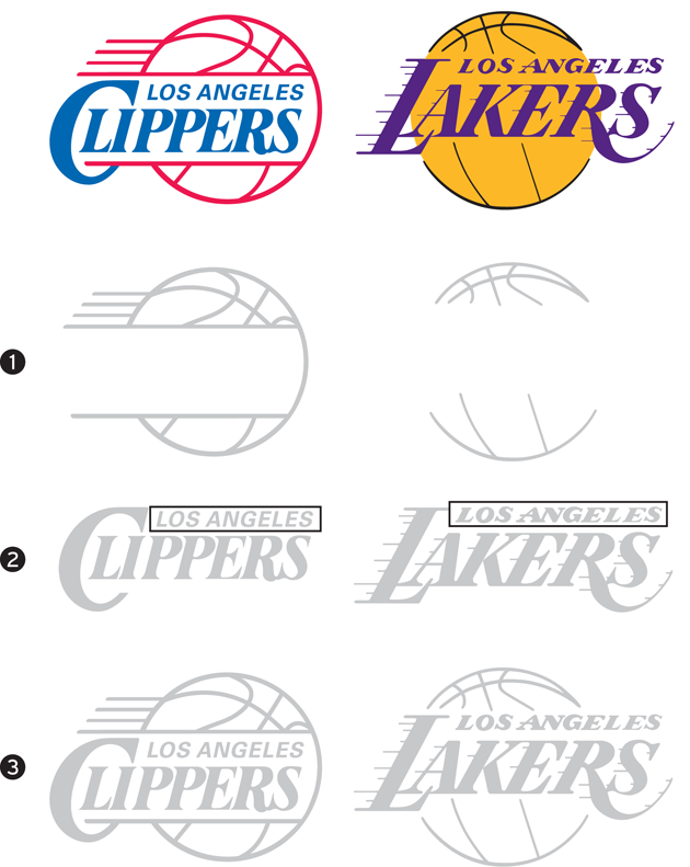 Clippers v Lakers logos
