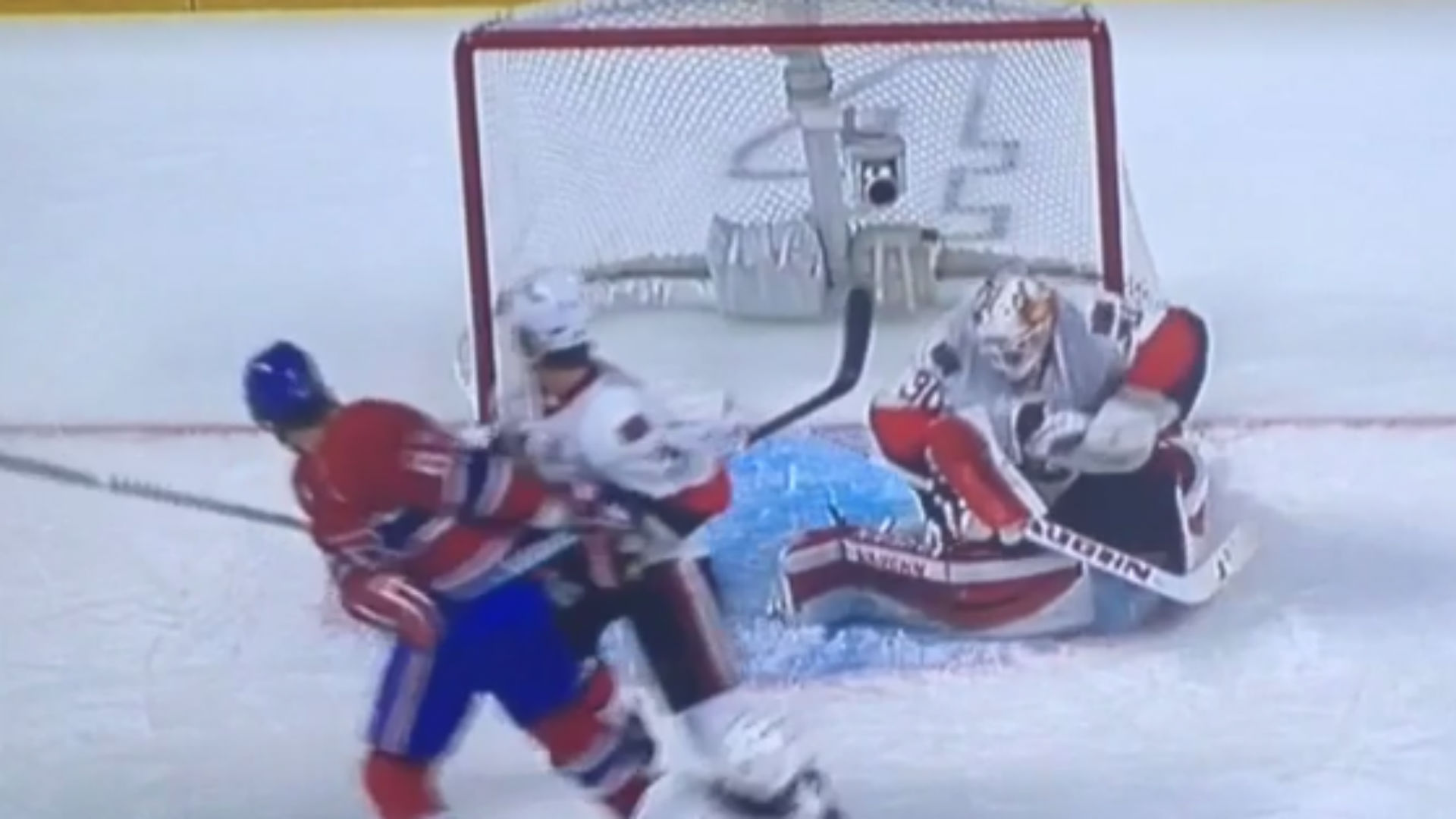 Andrew Hammond ducks to avoid P.K. Subban's vicious slap shot