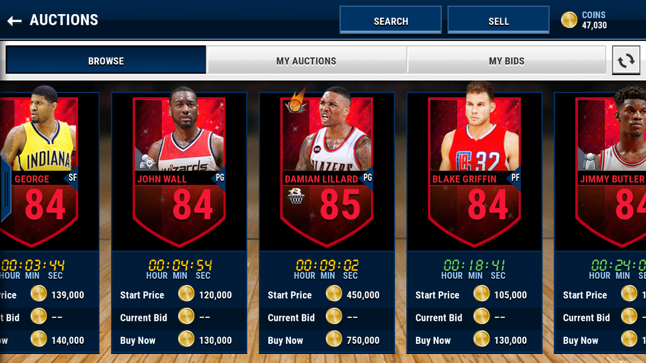 Auctions will be still play a important role in NBA mobile live