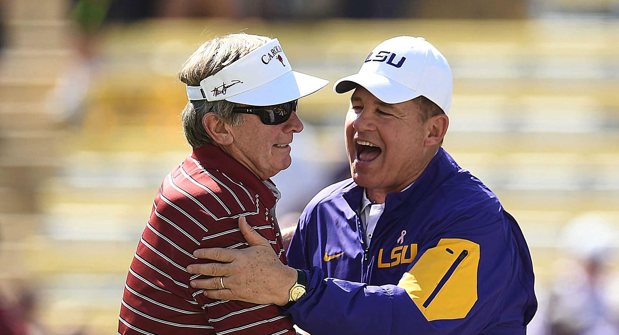 Steve Spurrier tells Les Miles he'll eat grass if LSU beats Florida