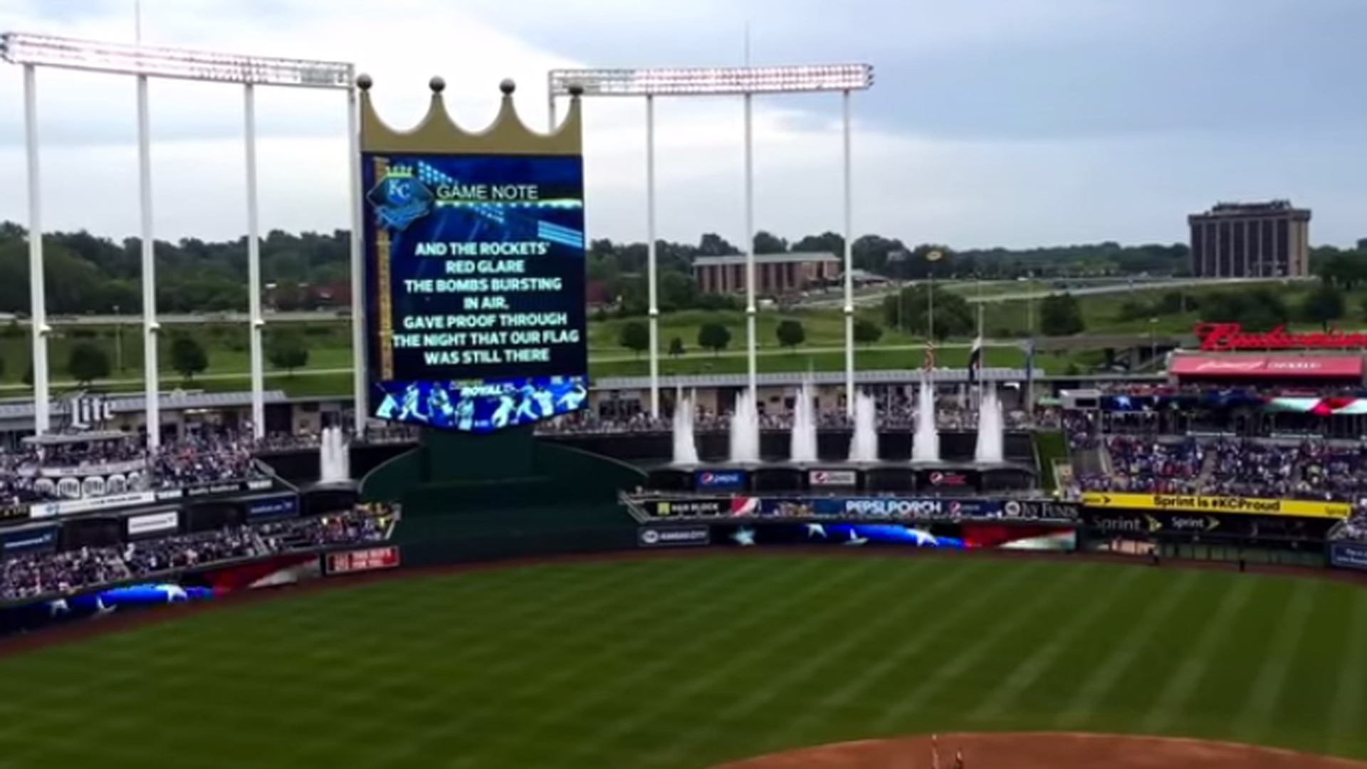 Royals fan sing national anthem after stadium PA system crashes