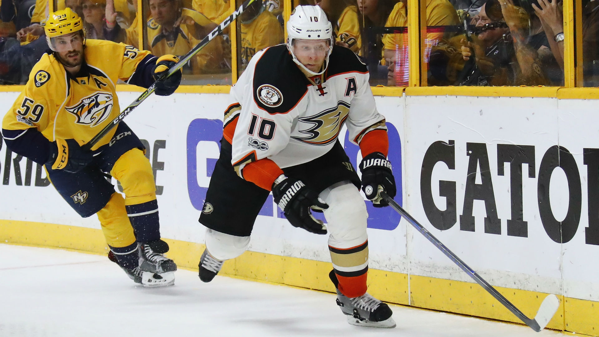 Gibson skates, could start as Ducks face elimination in Nashville