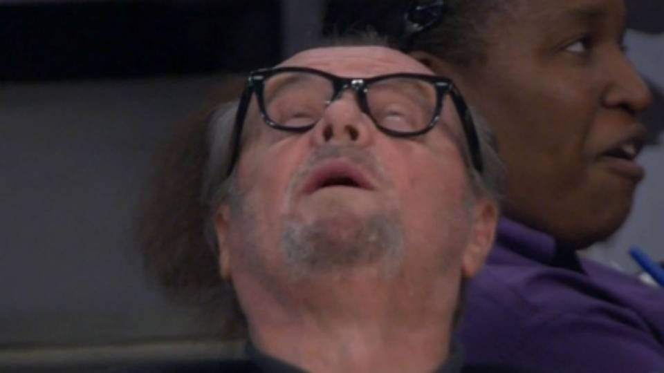 Jack Nicholson's struggle face at Lakers blow out | NBA ...