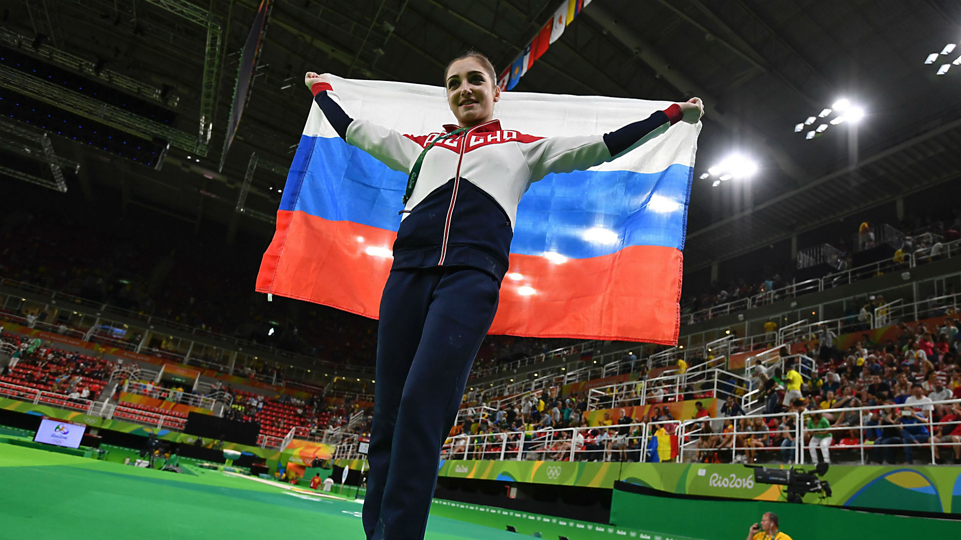 Russia Aliya Mustafina in action during Womens Uneven