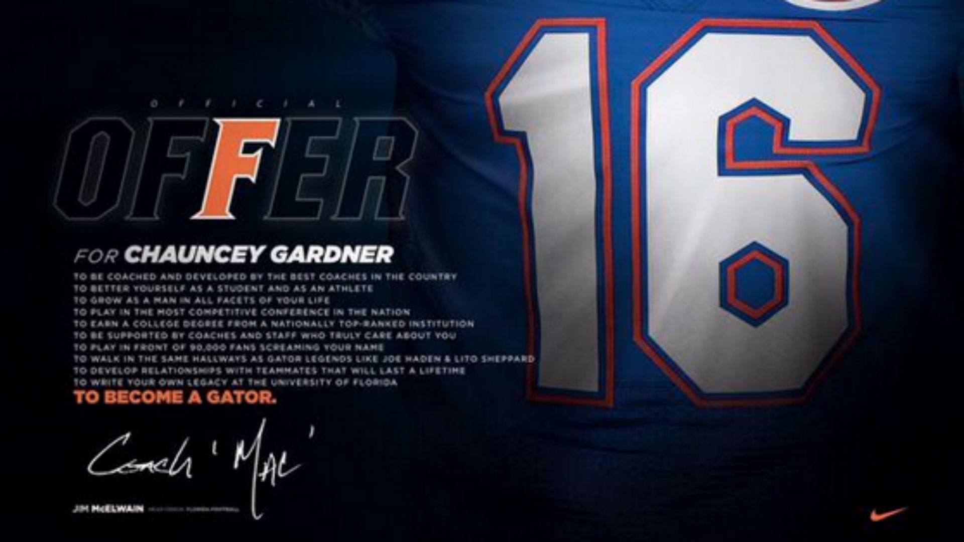 Florida's new official offer letters are sweet