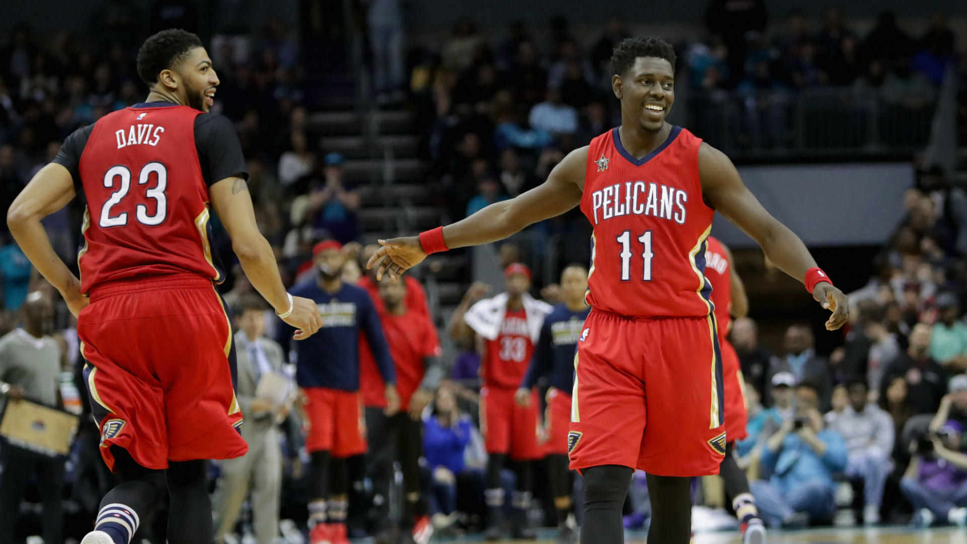 Pelicans forward Anthony Davis and guard Jrue Holiday