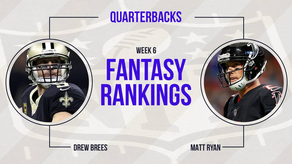 week 6 fantasy football projections Espn's fantasy football rankings of quarterbacks for week 6: preseason top-6 quarterback cam newton in over his head versus bengals defense.