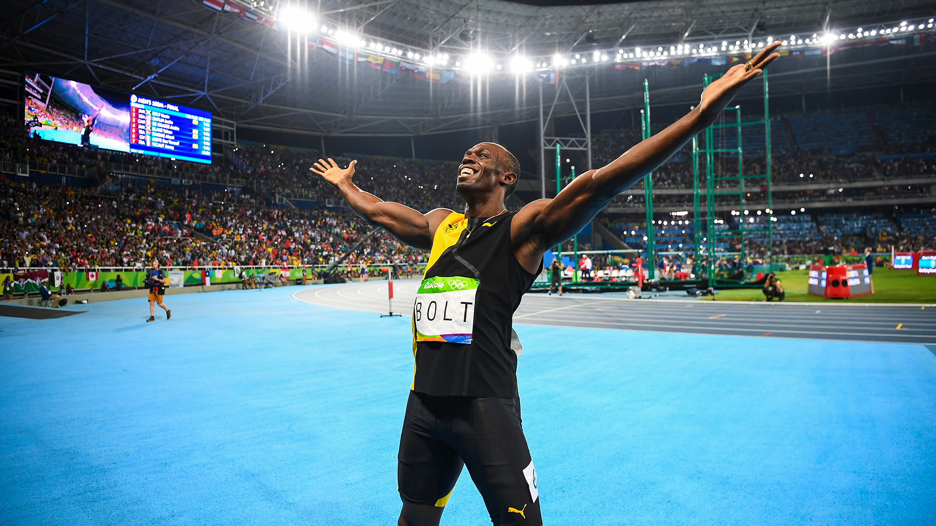 Usain Bolt After Winning Gold In The 100 Meters Getty