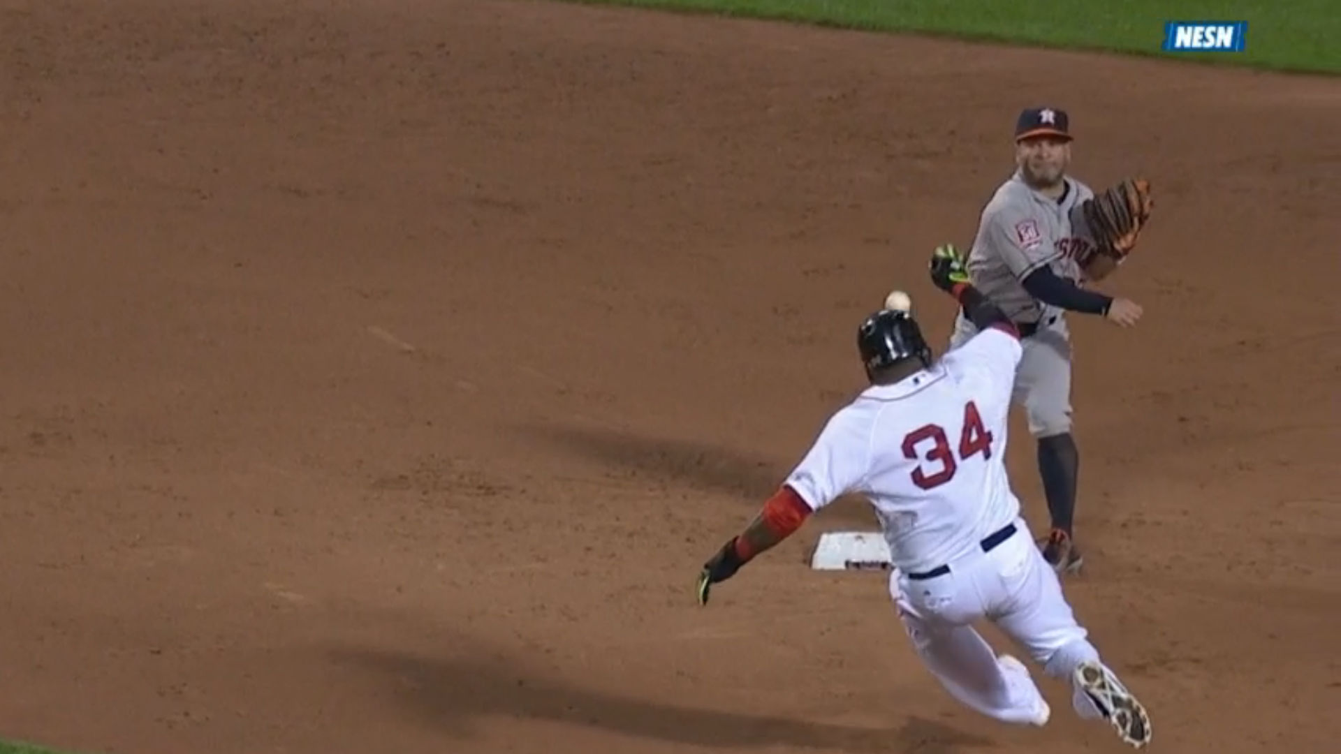 David Ortiz breaks up a double play ... with his head