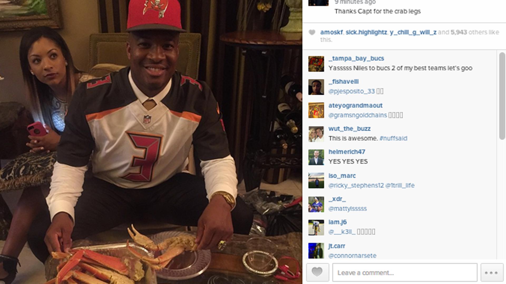 Jameis Winston celebrates draft night with crab legs | NFL ...