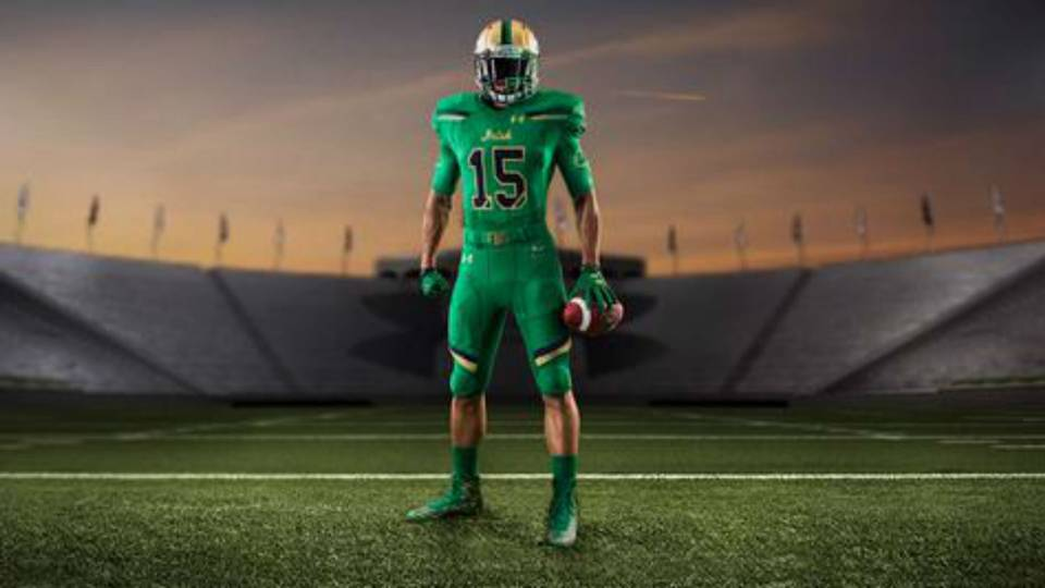 f3c4ae775 Notre Dame unveils bold green uniforms for 2015 Shamrock Series game ...