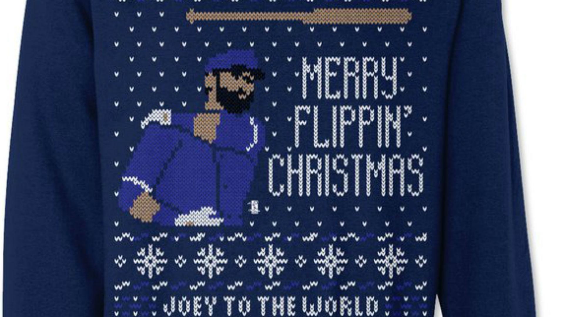 jose bautistas bat flip immortalized on ugly christmas sweater mlb sporting news - Christmas Sweater Wallpaper