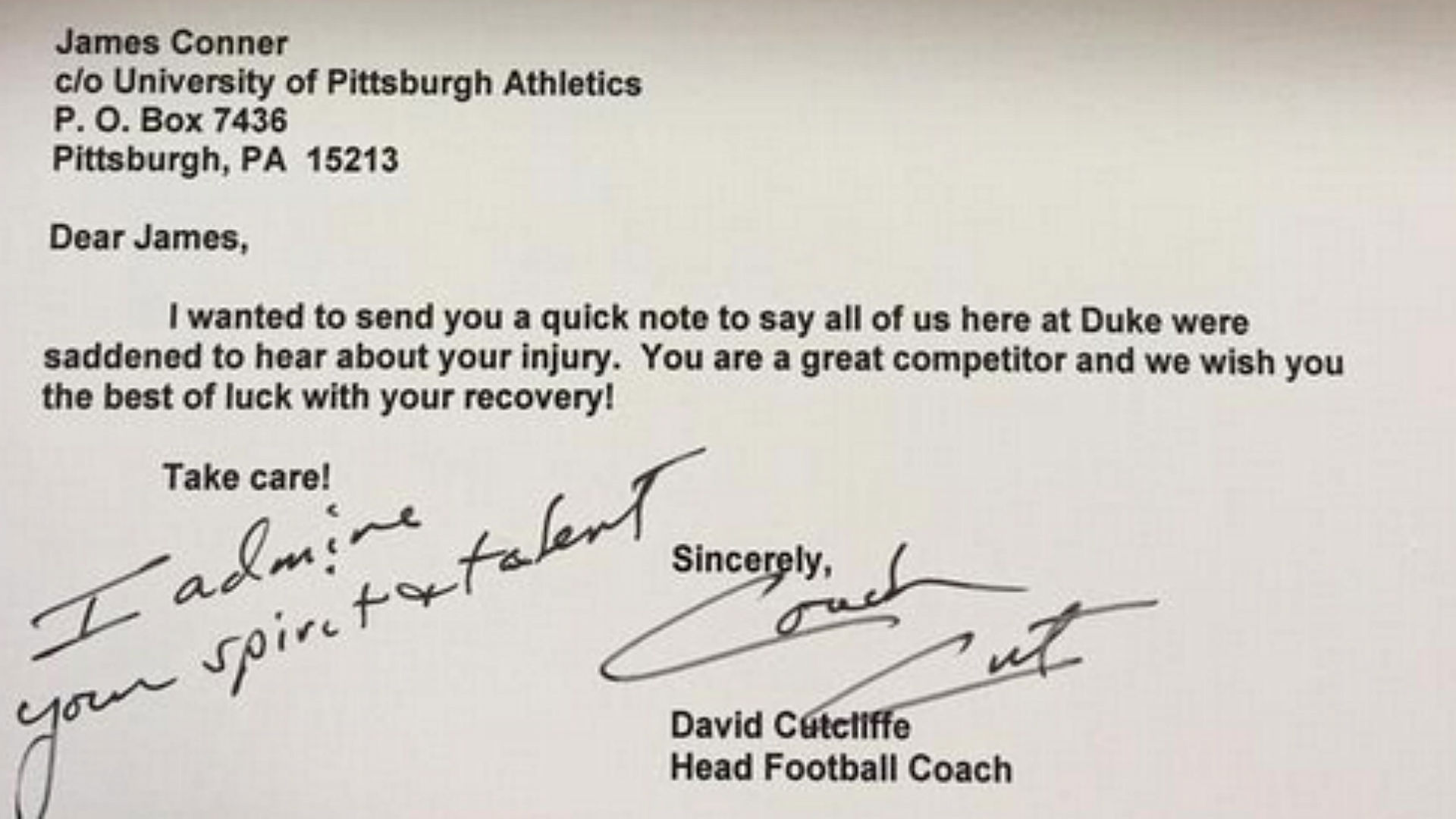 duke coach sends get well card to injured pitt star james conner ncaa football sporting news