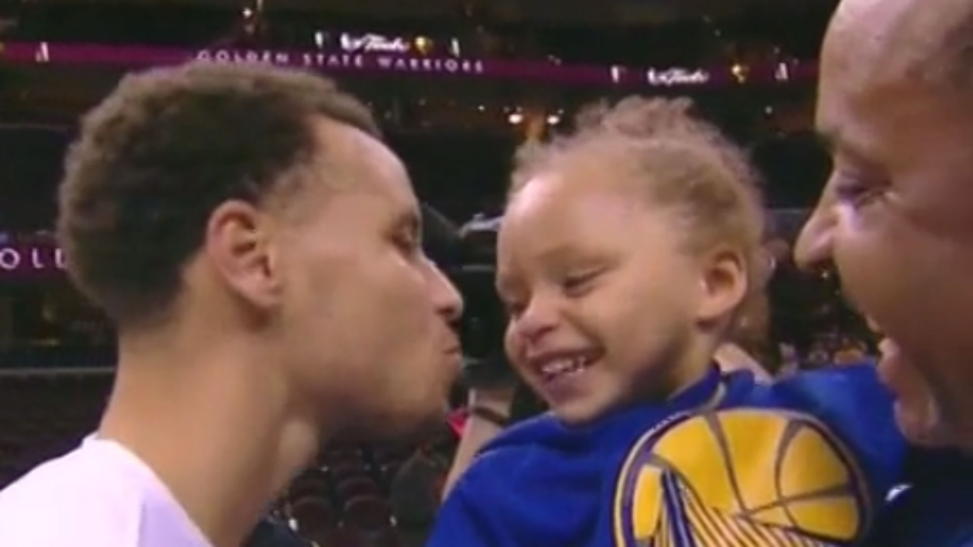 Stephen Curry kissing Riley after Game 4 will melt your heart