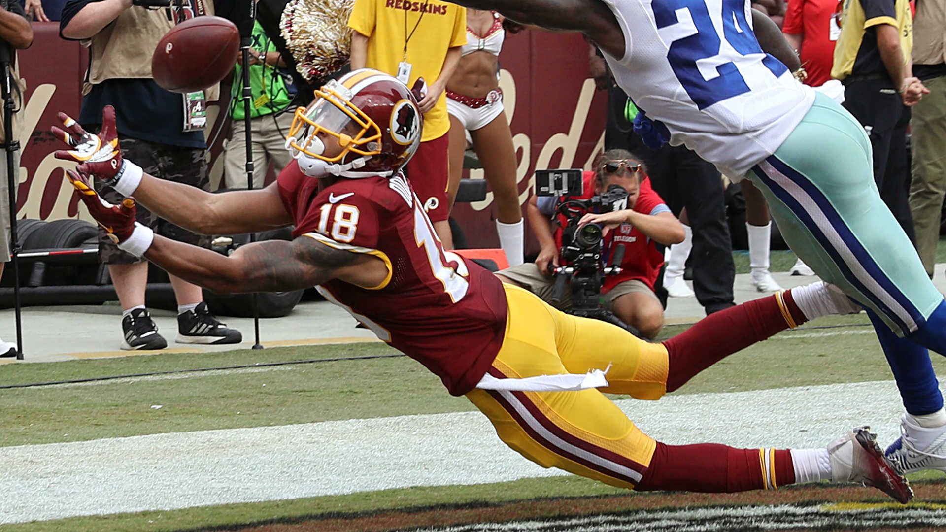 Redskins' Maurice Harris submits bid for catch of the year against Vikings