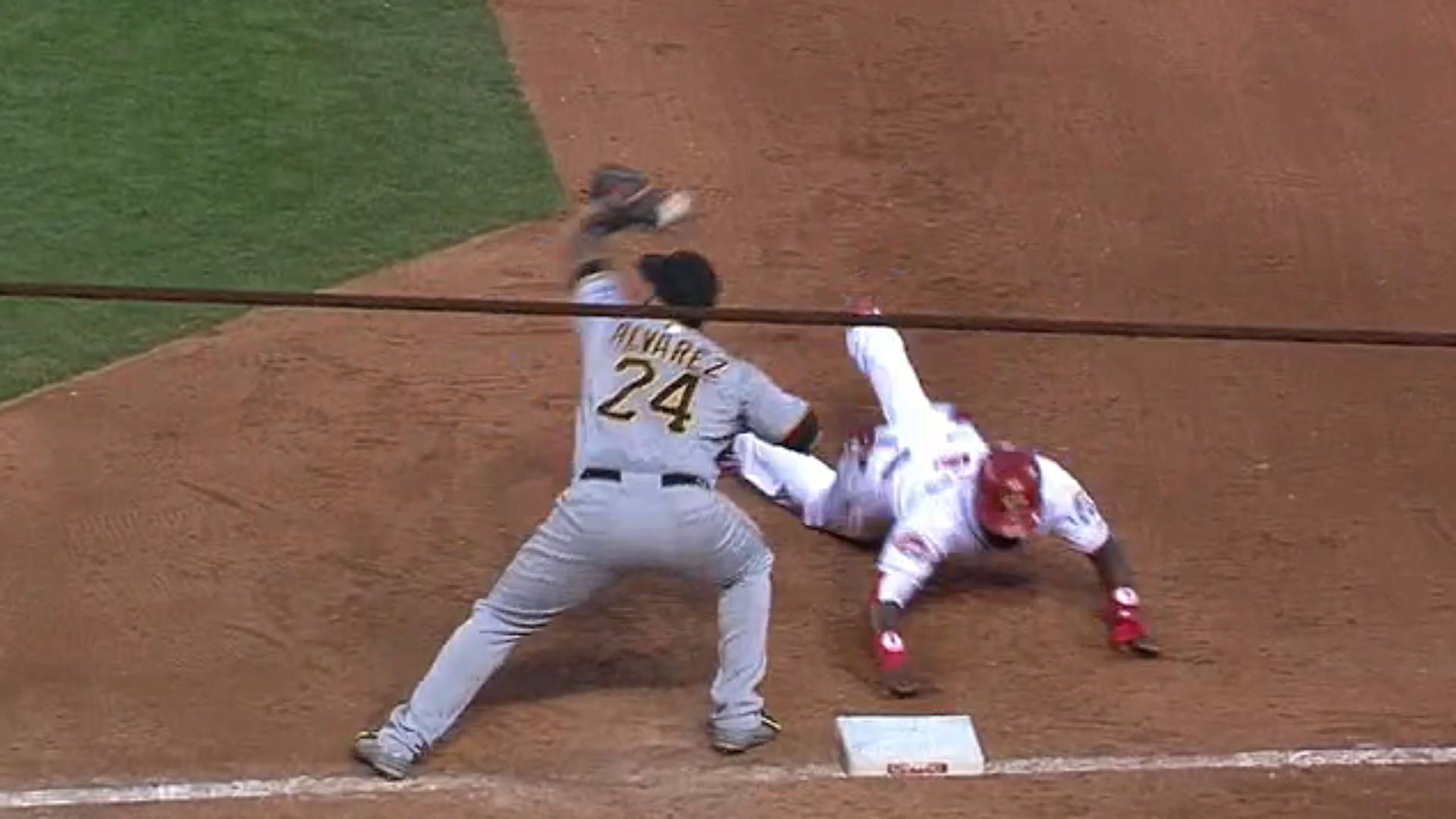 Gerrit Cole's pickoff throw tears hole in Pedro Alvarez's glove