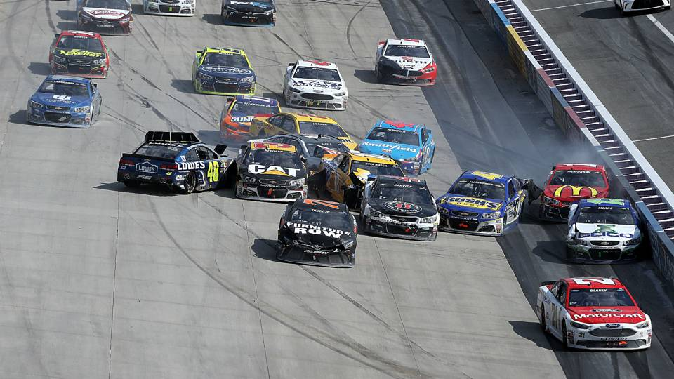 Jimmie Johnson ignites chaos on late Dover restart; 18 cars crash ...