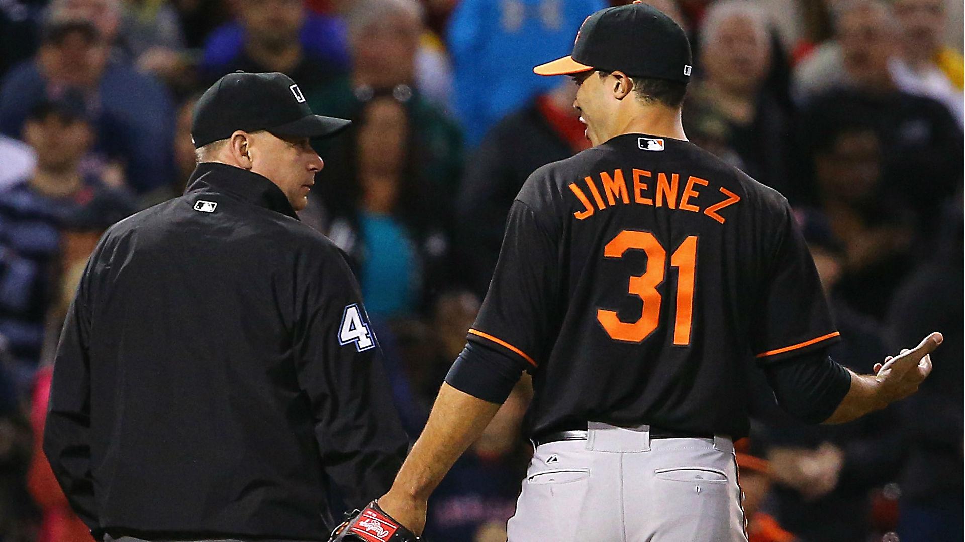 Orioles' Ubaldo Jimenez ejected after plunking Pablo Sandoval