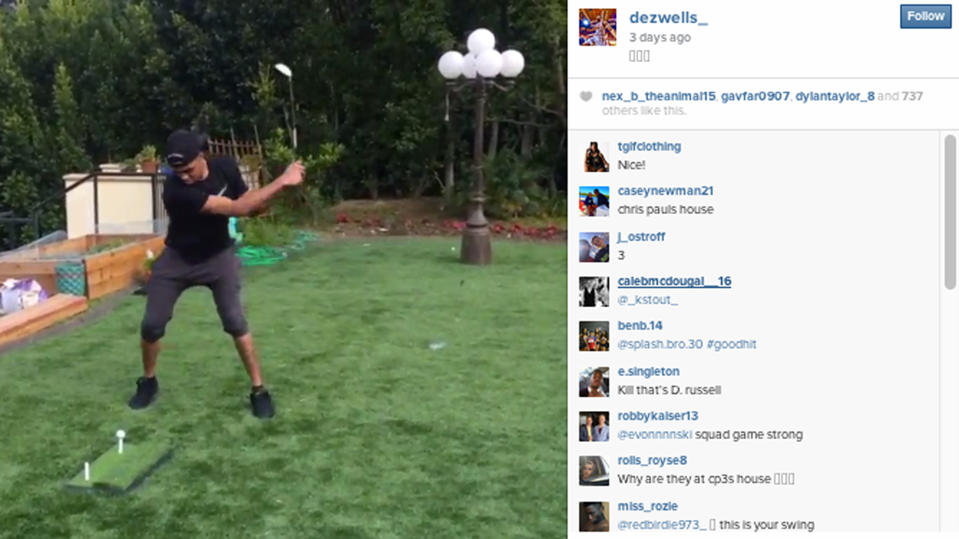 D'Angelo Russell's golf swing is atrocious