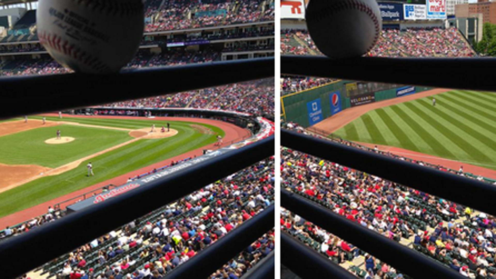 Michael Brantley's foul ball stuck in suite railing