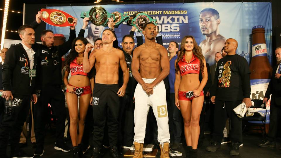 Golovkin to the left, Jacobs to the right