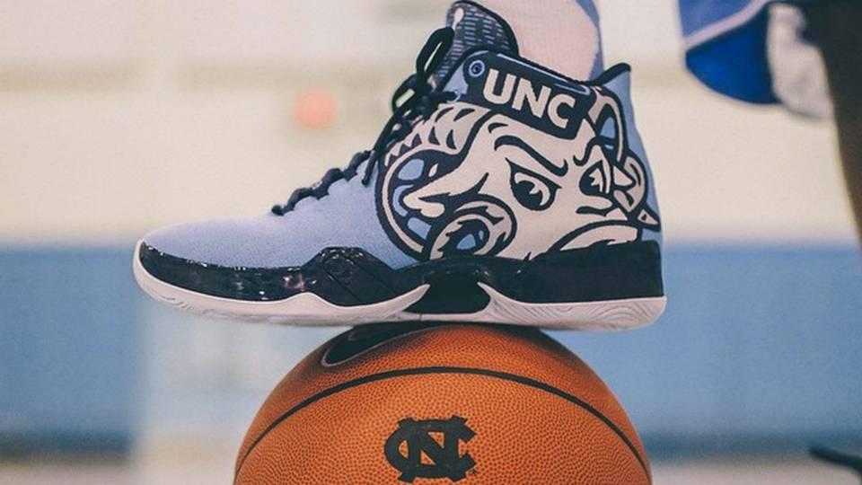 528b65f67ae North Carolina s Sweet 16 Jordans feature huge Rameses ram mascot ...