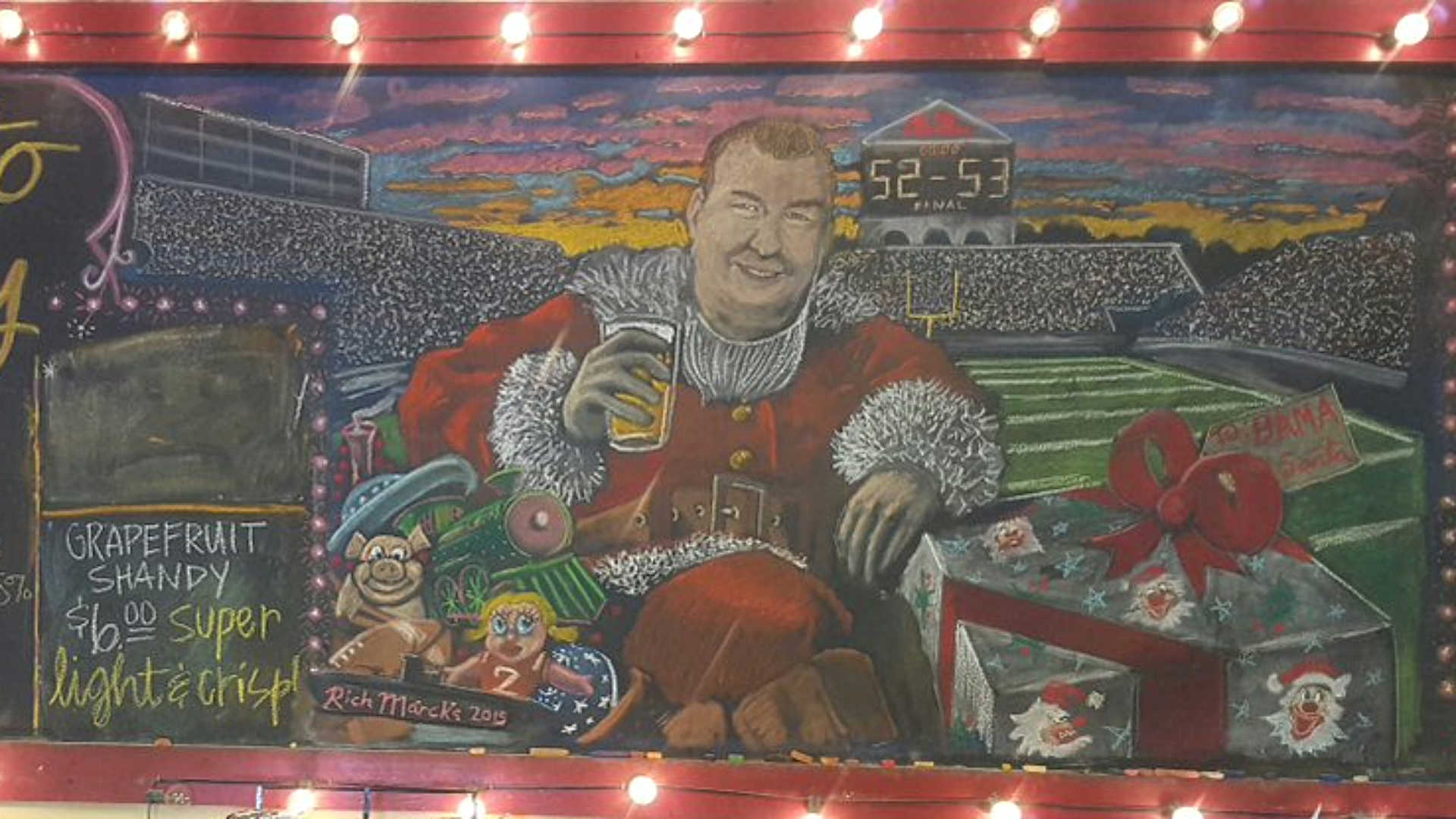 Alabama brewery thanks arkansas for ole miss victory with for Alabama football mural