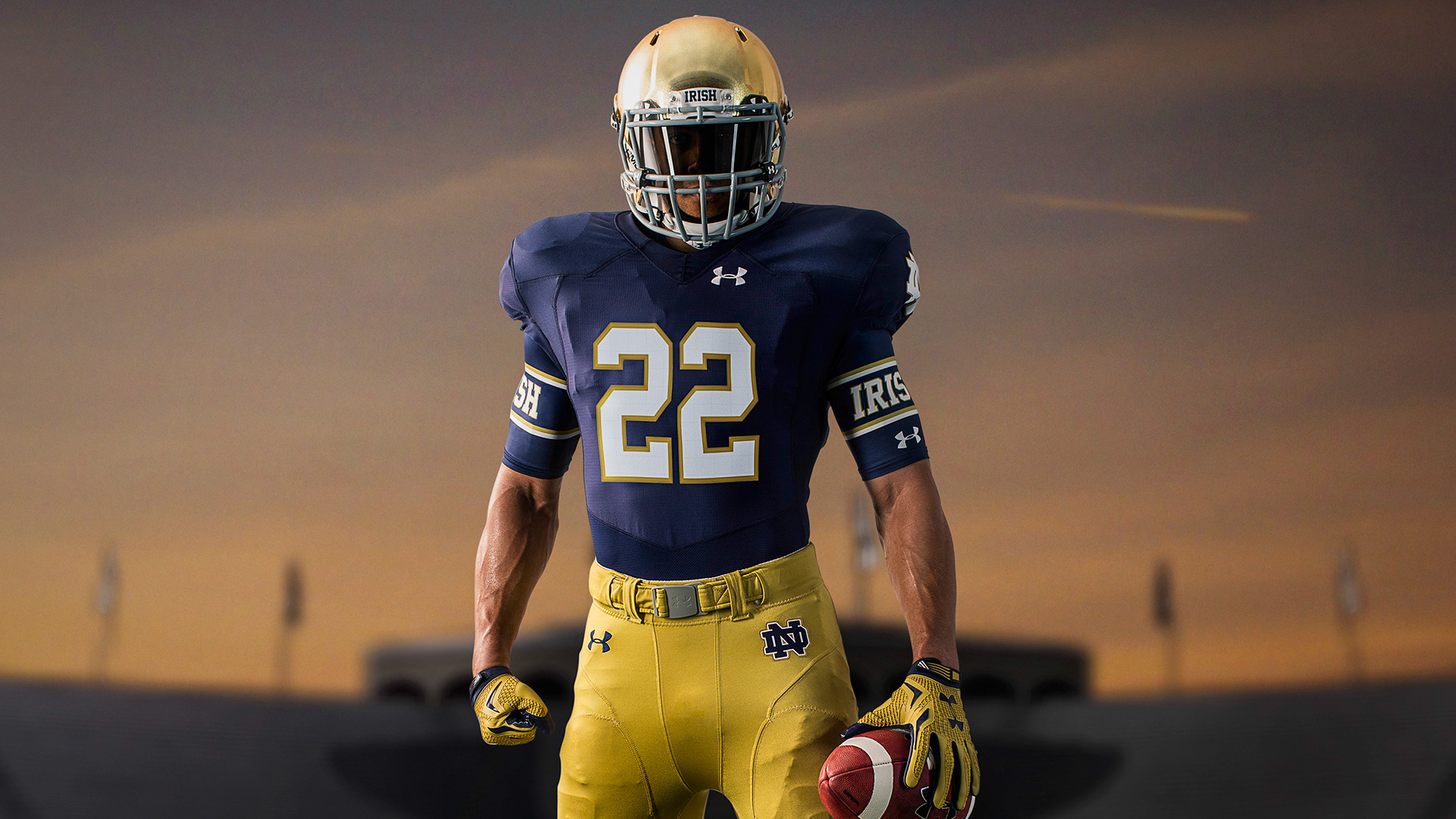 Notre Dame's signature navy and gold jerseys in photos