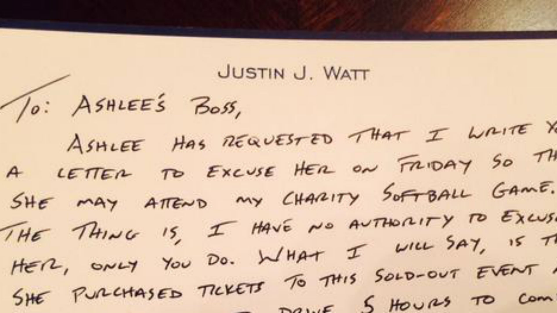 J.J. Watt writes letter to fan's boss to excuse her from work
