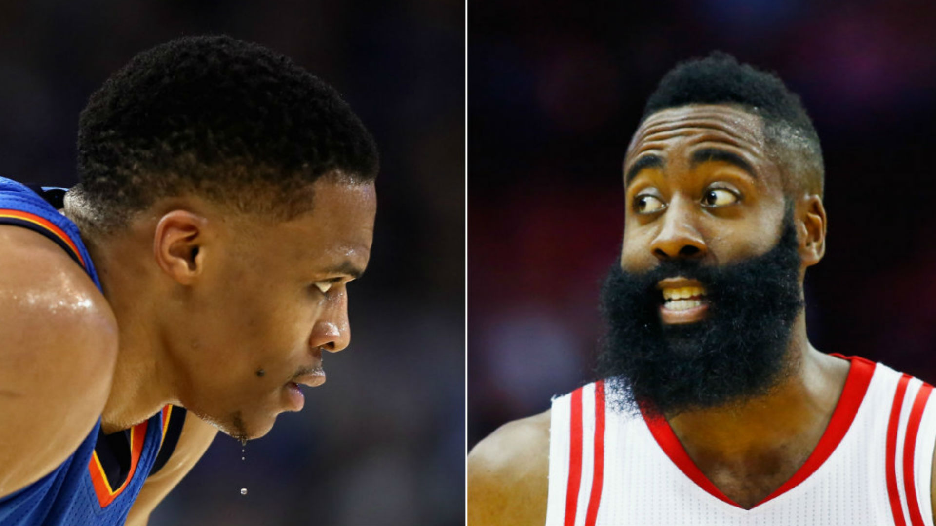Thunder guard Russell Westbrook and Rockets guard James Harden