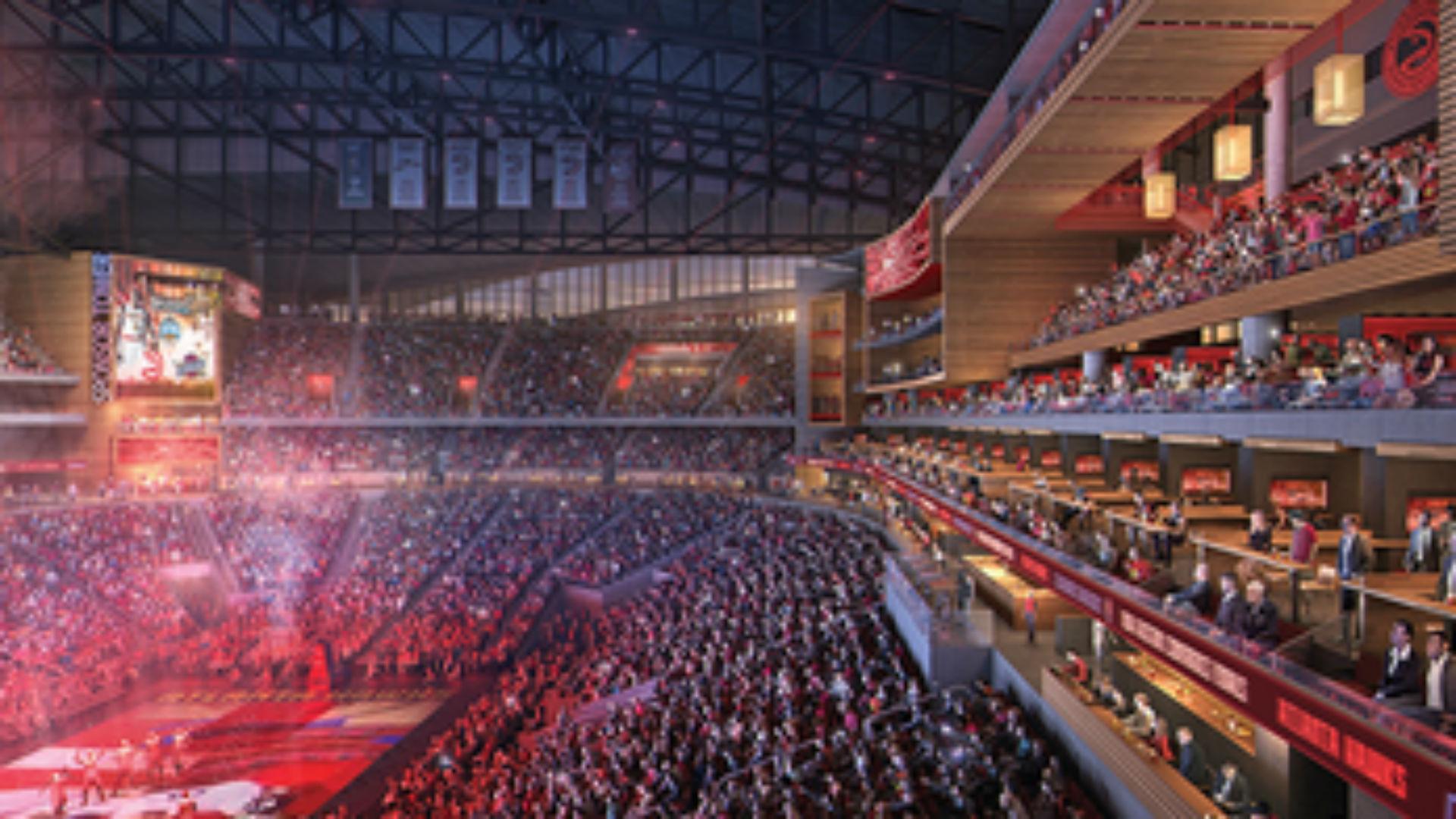 Suite wall ing down at Atlanta s Philips Arena as part of major renovations NBA