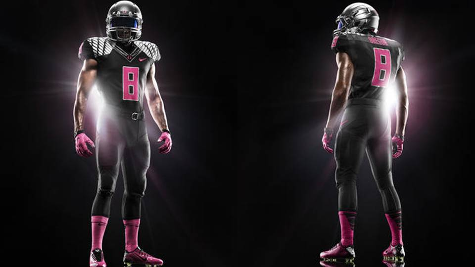 f72a68653 See Oregon s pink uniforms for breast cancer awareness