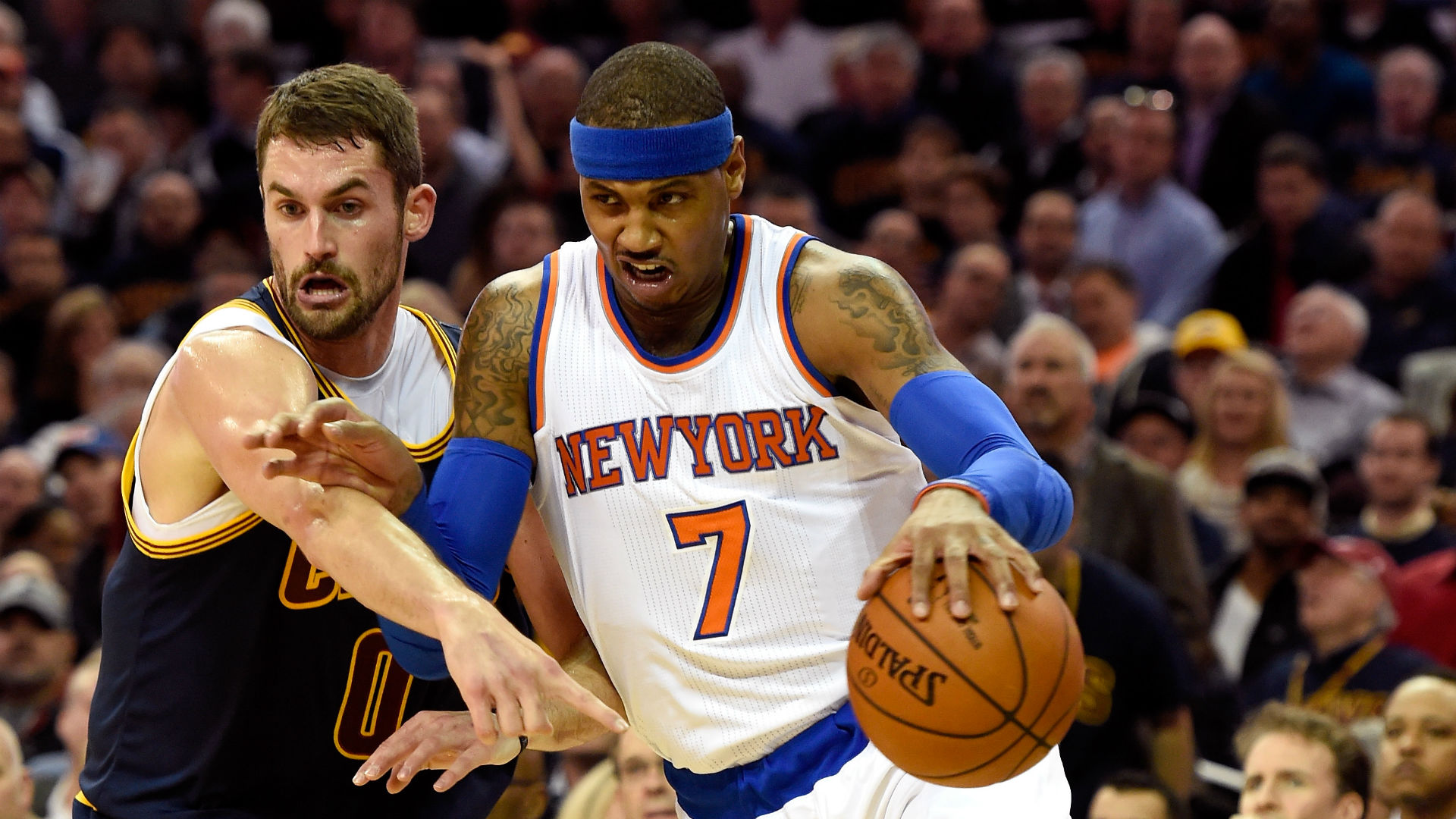 LeBron James and Carmelo Anthony square off