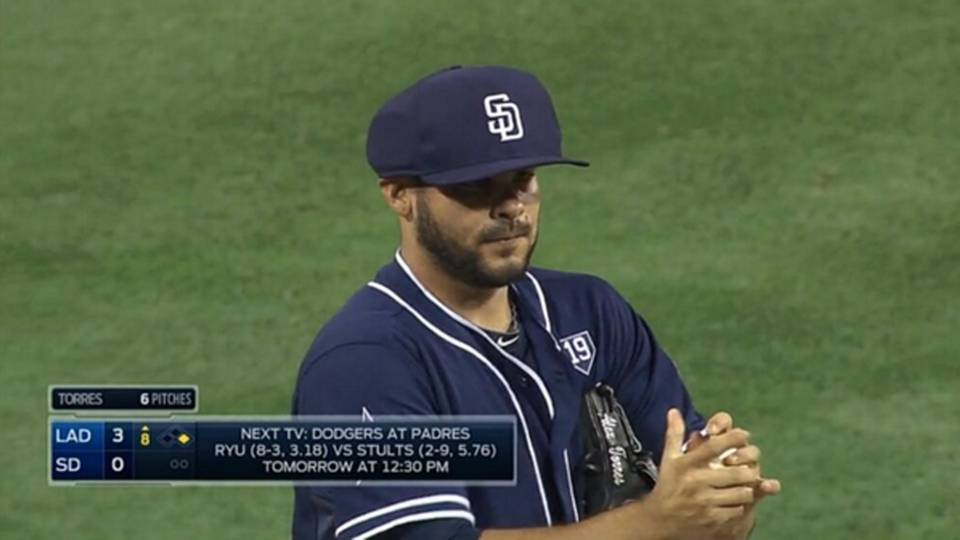 Padres  Alex Torres becomes first player to wear protective hat ... 08048a811af