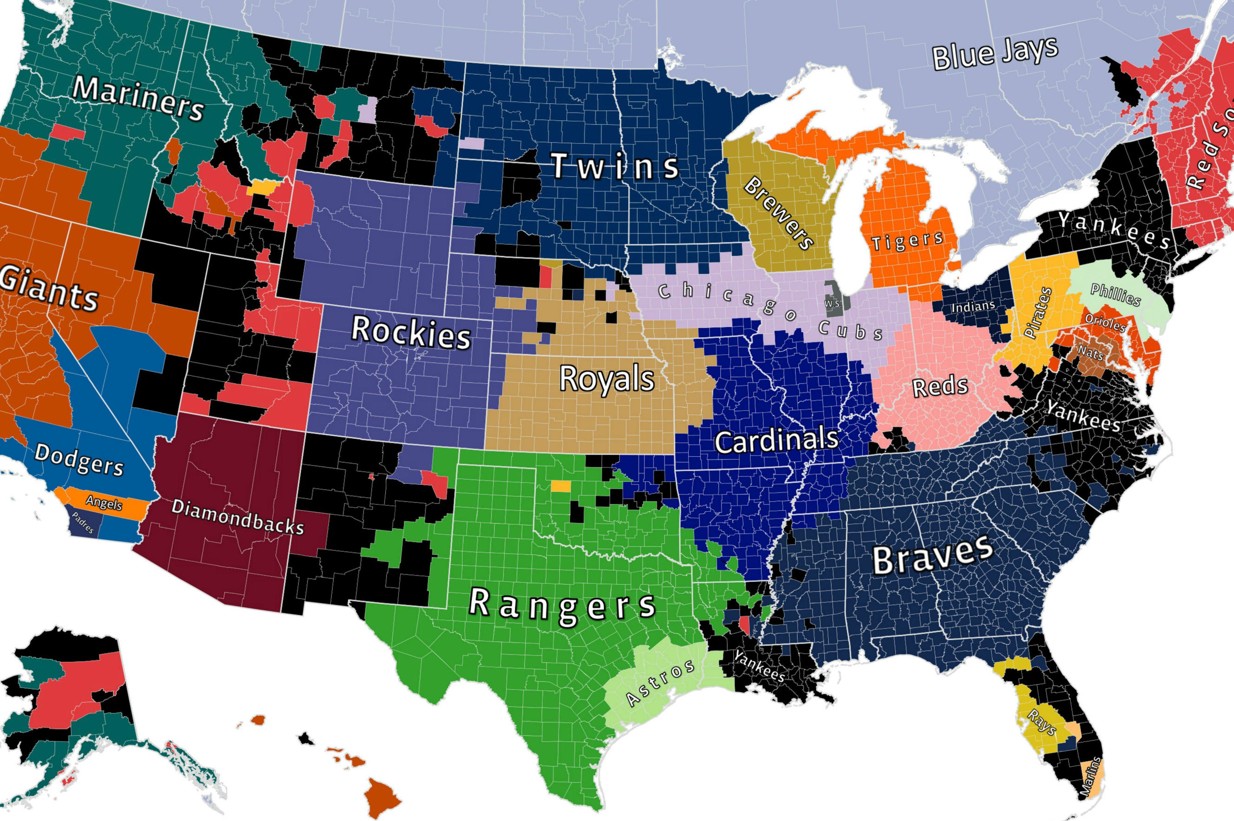 Facebooks MLB Fan Map Reminds Us Yankees Fans Are Everywhere - Us map nfl teams