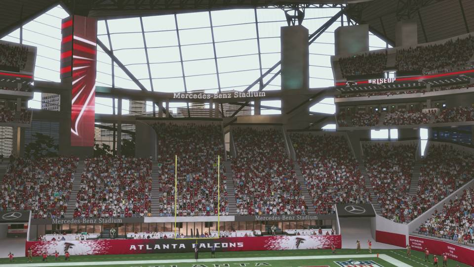 Atlanta 39 s mercedes benz stadium makes its debut in 39 madden for Atlanta ga mercedes benz stadium