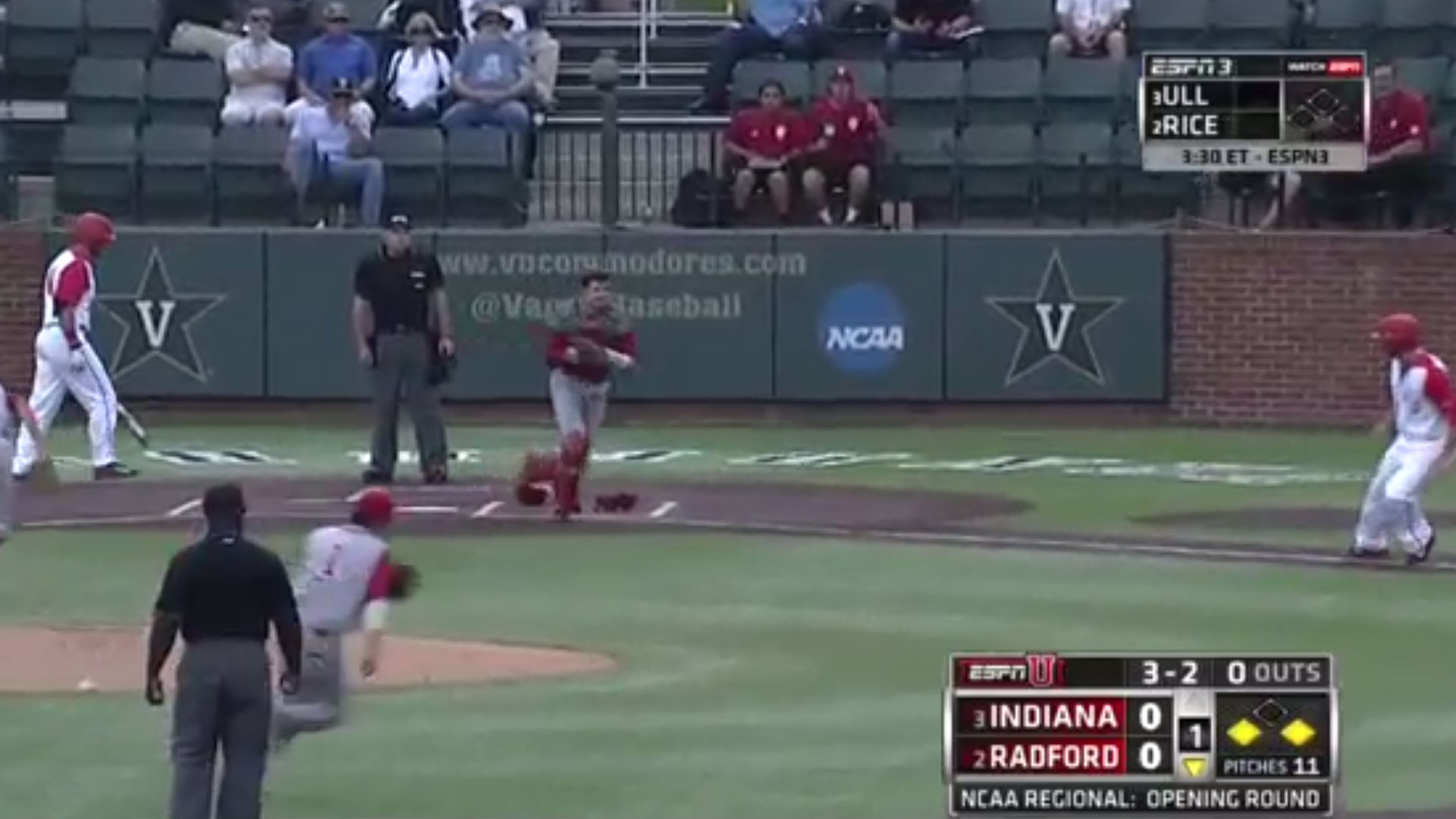 Indiana pulls off crazy 1-2-6-2 triple play against Radford