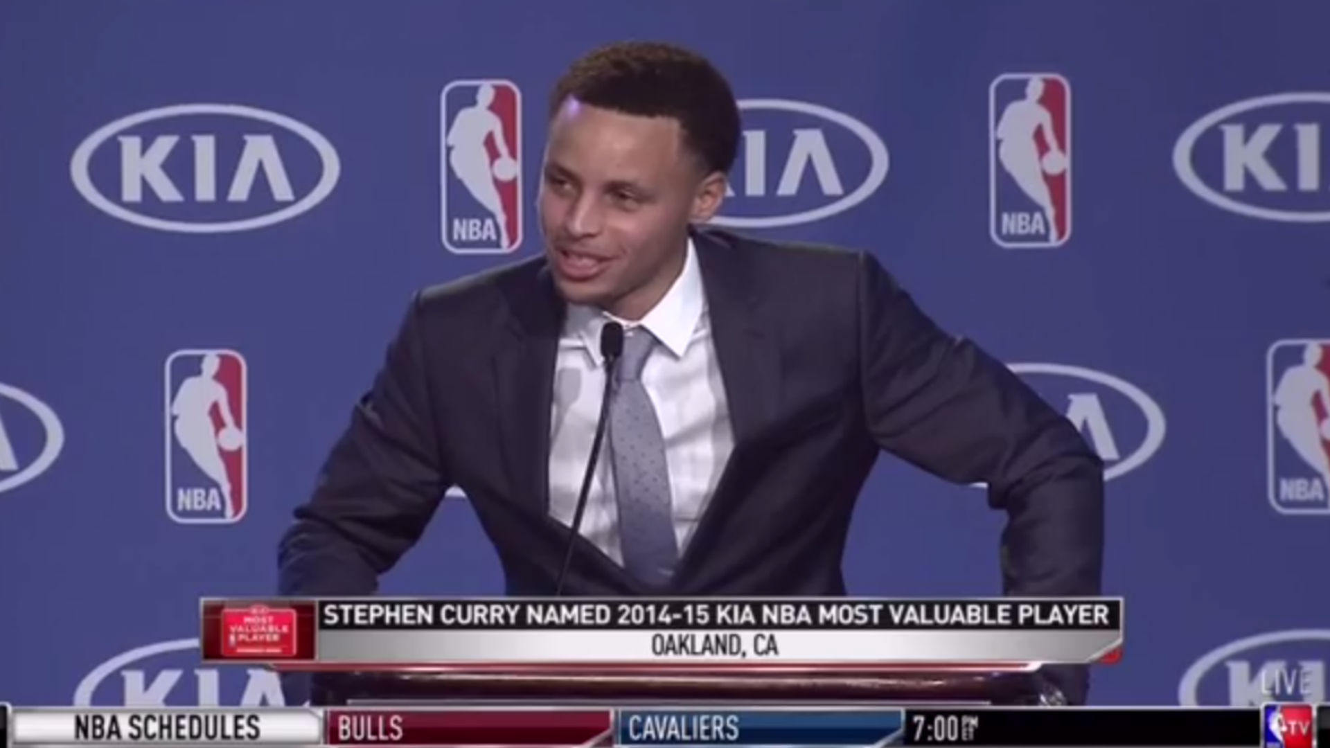 Stephen Curry shows MVP class in speech, with thanks from wife to equipment manager