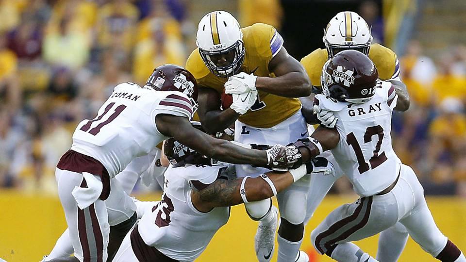 Mississippi State Quarterback Ankle >> Leonard Fournette puts forth Herculean effort to help LSU stave off Mississippi State   NCAA ...