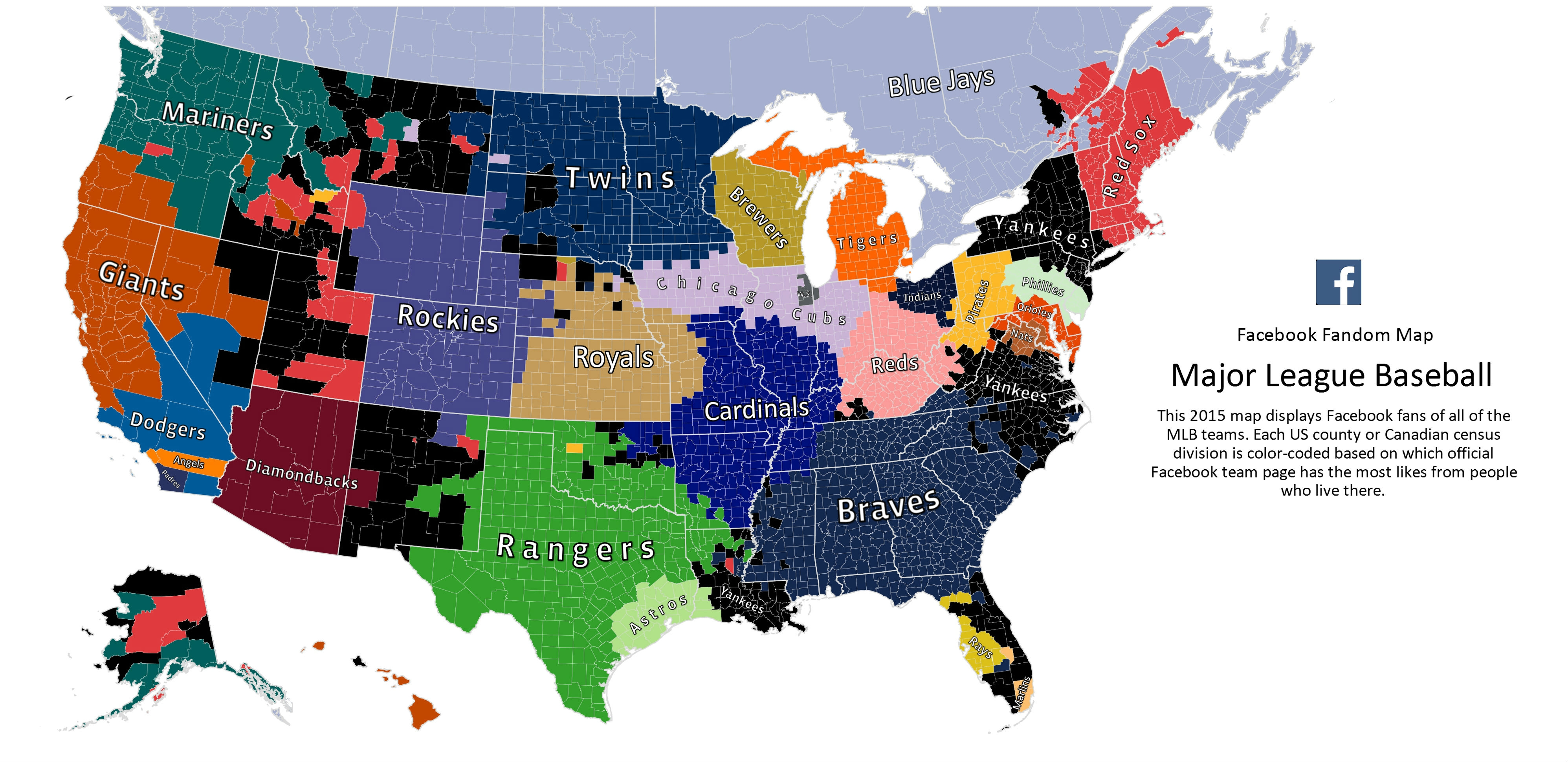 Facebooks MLB Fan Map Reminds Us Yankees Fans Are Everywhere - Mlb us map