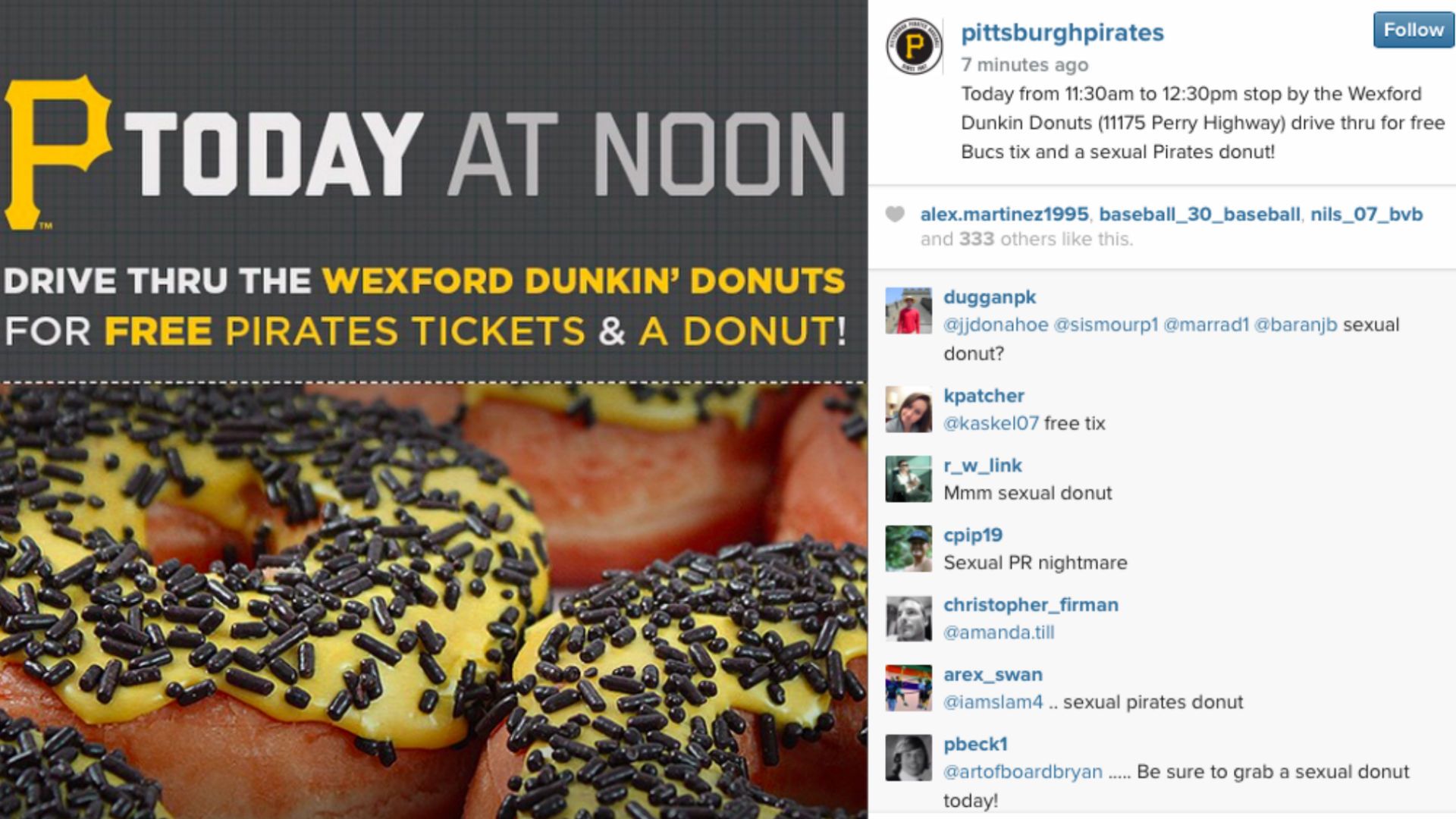 Pirates accidentally offer 'sexual donuts' in fan promotion