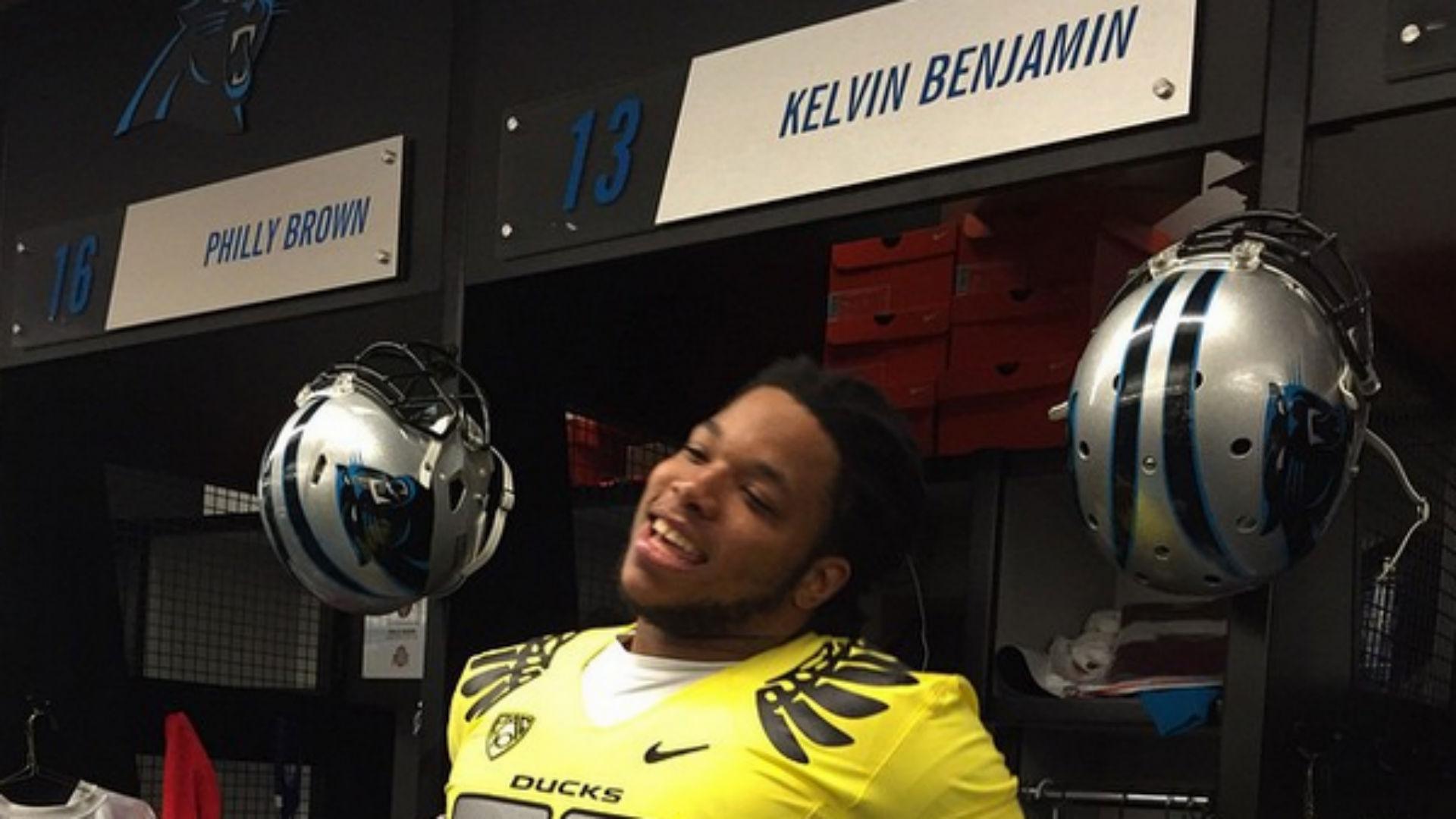 Wholesale NFL Jerseys cheap - Panthers' Kelvin Benjamin loses bet, sports Oregon jersey | NCAA ...