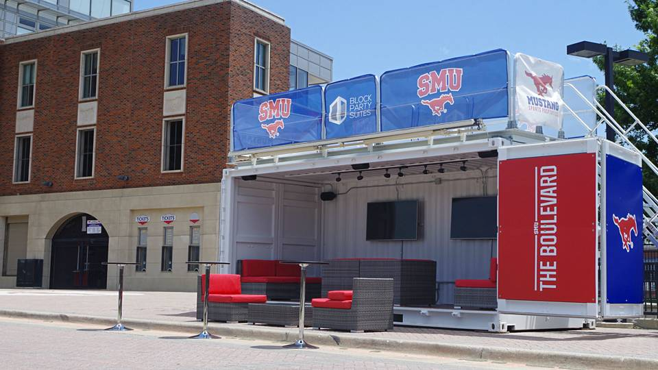 SMU using tricked out shipping containers to host tailgates this