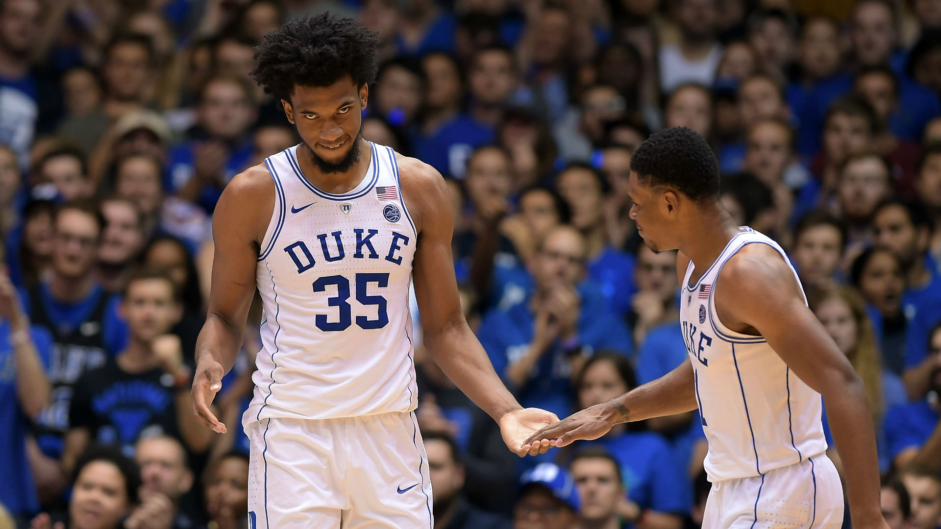 Duke freshman Marvin Bagley III goes down with injury in first half