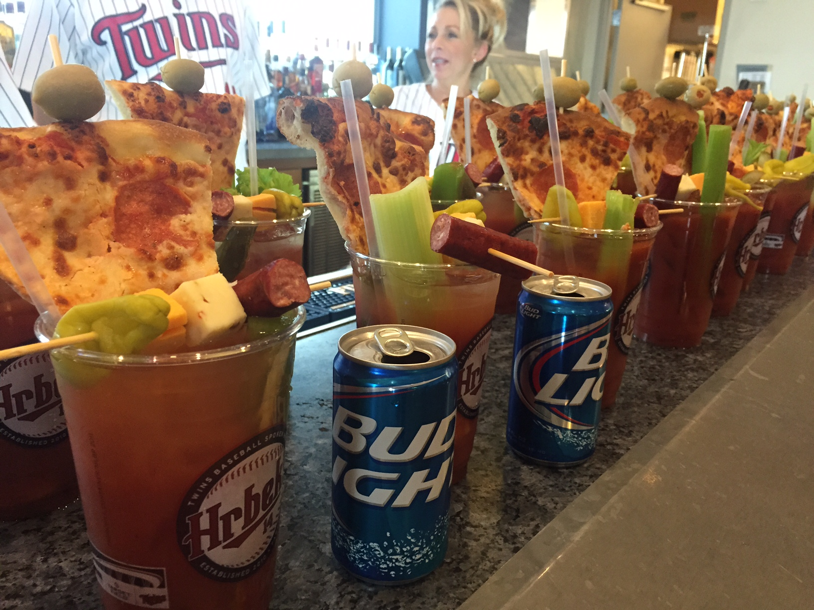 The Twins' 'College Daze' Bloody Mary, with Cold Slice of Pizza and Bud Light beer chaser