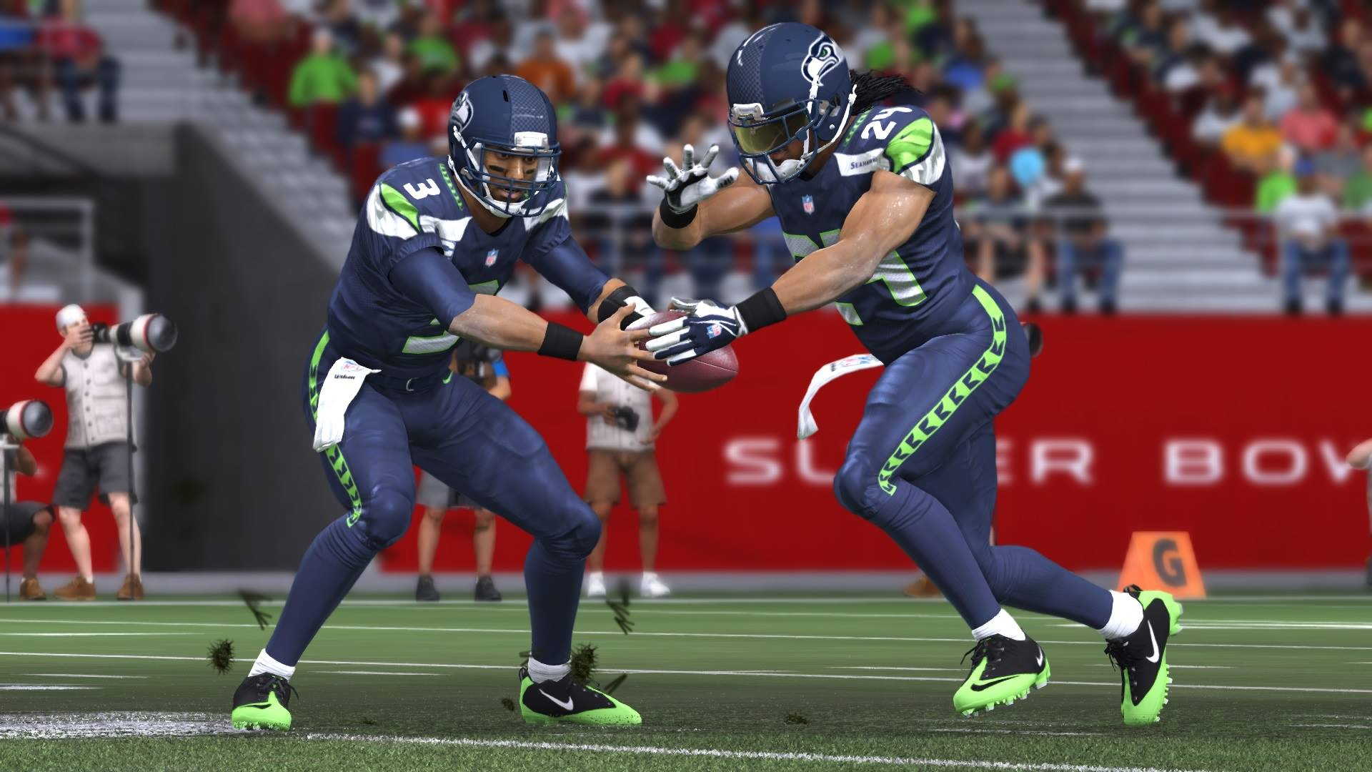 Super Bowl XLIX - Russell Wilson and Marshawn Lynch