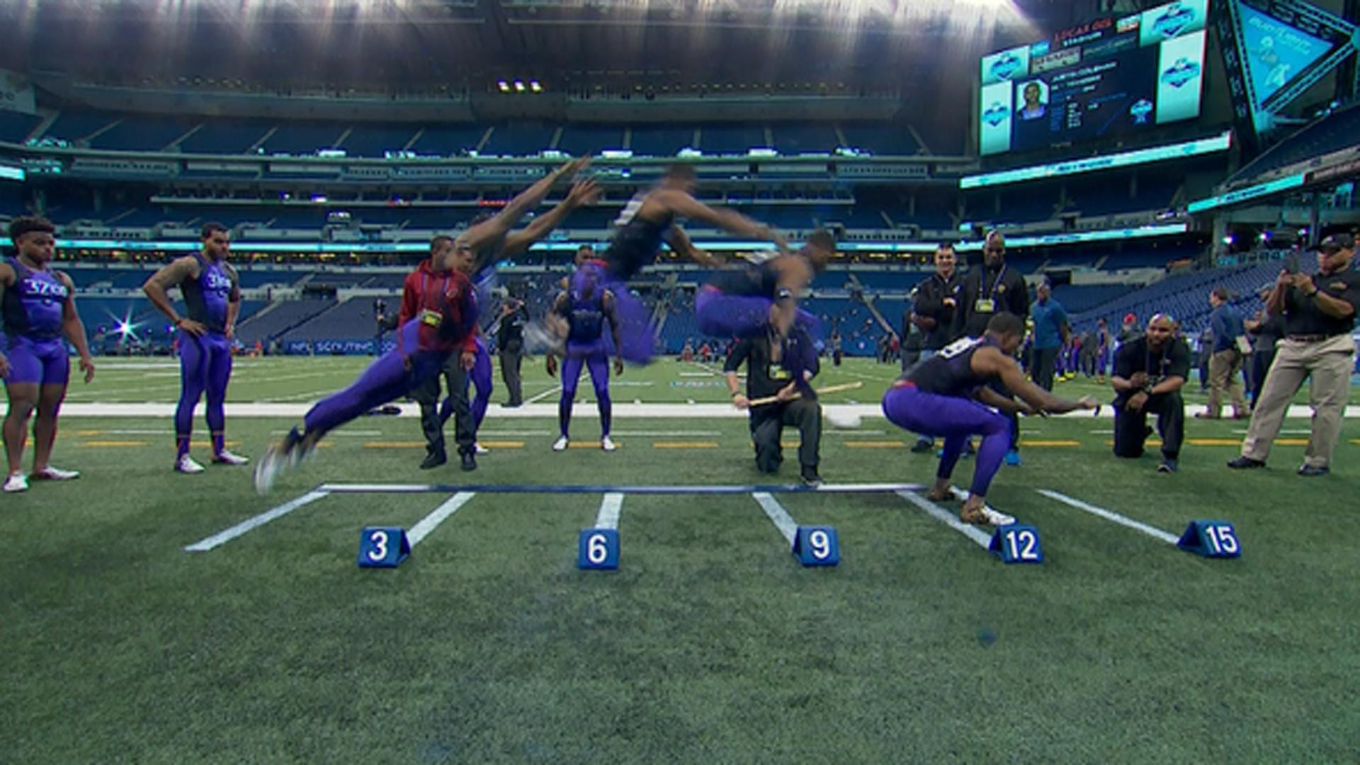 Byron Jones beats world broad jump record at NFL bine